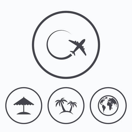 airplane world: Travel trip icon. Airplane, world globe symbols. Palm tree and Beach umbrella signs. Icons in circles.