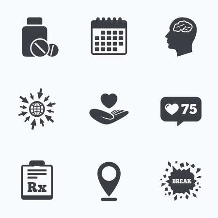 rx: Calendar, like counter and go to web icons. Medicine icons. Medical tablets bottle, head with brain, prescription Rx signs. Pharmacy or medicine symbol. Hand holds heart. Location pointer.
