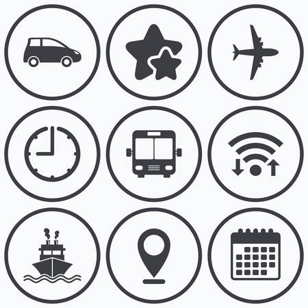 transport icons: Clock, wifi and stars icons. Transport icons. Car, Airplane, Public bus and Ship signs. Shipping delivery symbol. Air mail delivery sign. Calendar symbol. Illustration