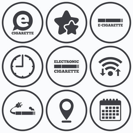 e cig: Clock, wifi and stars icons. E-Cigarette with plug icons. Electronic smoking symbols. Speech bubble sign. Calendar symbol. Illustration