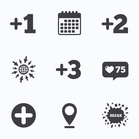 three pointer: Calendar, like counter and go to web icons. Plus icons. Positive symbol. Add one, two, three and four more sign. Location pointer.