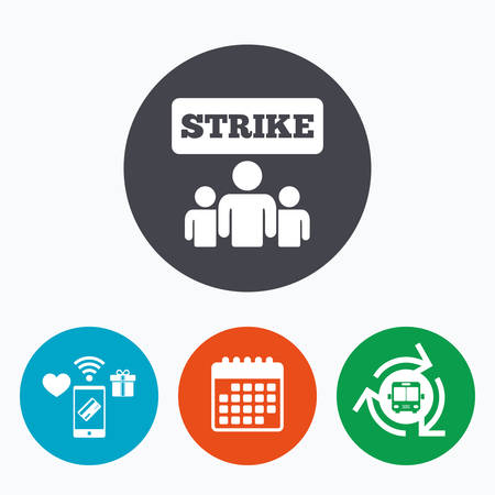 activists: Strike sign icon. Group of people symbol. Industrial action. People protest. Mobile payments, calendar and wifi icons. Bus shuttle. Illustration