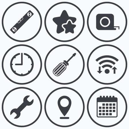 bubble level: Clock, wifi and stars icons. Screwdriver and wrench key tool icons. Bubble level and tape measure roulette sign symbols. Calendar symbol.