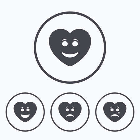 heart symbol: Heart smile face icons. Happy, sad, cry signs. Happy smiley chat symbol. Sadness depression and crying signs. Icons in circles.