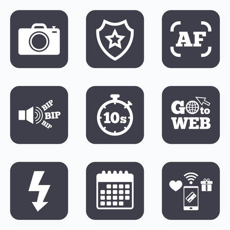 autofocus: Mobile payments, wifi and calendar icons. Photo camera icon. Flash light and autofocus AF symbols. Stopwatch timer 10 seconds sign. Go to web symbol.