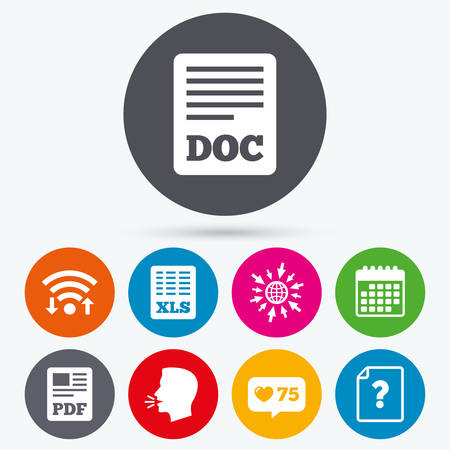 excel: Wifi, like counter and calendar icons. File document and question icons. XLS, PDF and DOC file symbols. Download or save doc signs. Human talk, go to web. Illustration