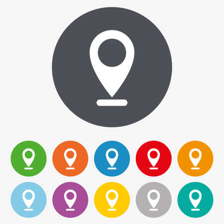 red icons: Internet mark icon. Navigation pointer symbol. Position marker sign. Circle colourful buttons.
