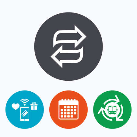 symbol: Rotation icon. Repeat symbol. Refresh sign. Mobile payments, calendar and wifi icons. Bus shuttle.