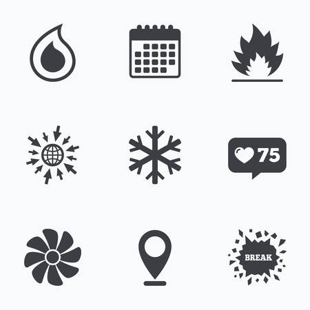 water supply: Calendar, like counter and go to web icons. HVAC icons. Heating, ventilating and air conditioning symbols. Water supply. Climate control technology signs. Location pointer.