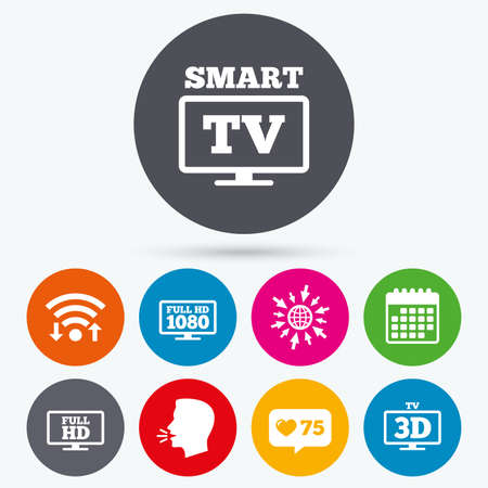 3d mode: Wifi, like counter and calendar icons. Smart TV mode icon. Widescreen symbol. Full hd 1080p resolution. 3D Television sign. Human talk, go to web.
