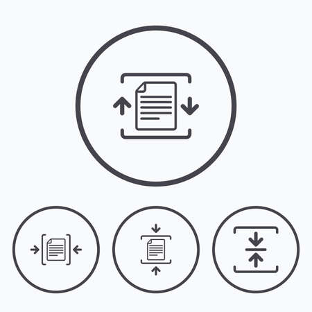 compression: Archive file icons. Compressed zipped document signs. Data compression symbols. Icons in circles. Illustration
