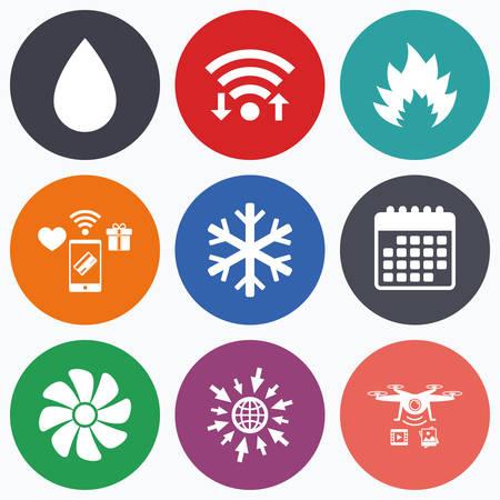 Wifi、モバイル決済、無人偵察機のアイコン。空調のアイコン。暖房、換気およびエアコンのシンボル。水の供給。気候制御技術の兆候。カレンダー