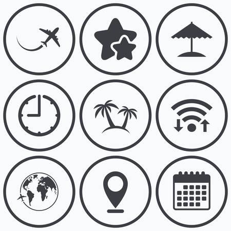 trip: Clock, wifi and stars icons. Travel trip icon. Airplane, world globe symbols. Palm tree and Beach umbrella signs. Calendar symbol.