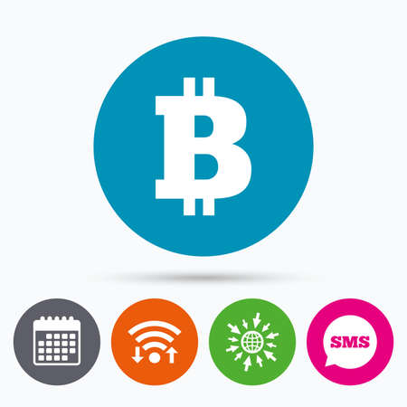 sms payment: Wifi, Sms and calendar icons. Bitcoin sign icon. Cryptography currency symbol. P2P. Go to web globe.