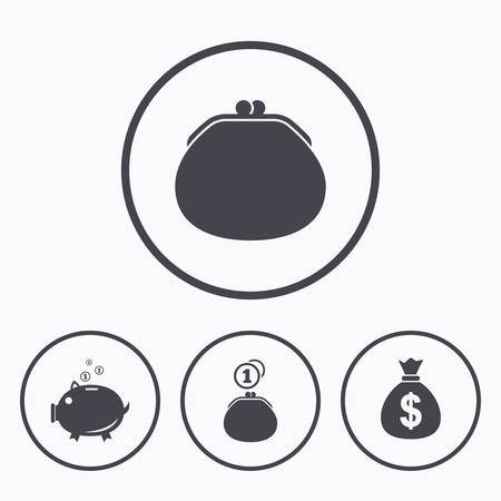thrift: Wallet with cash coin and piggy bank moneybox symbols. Dollar USD currency sign. Icons in circles. Illustration