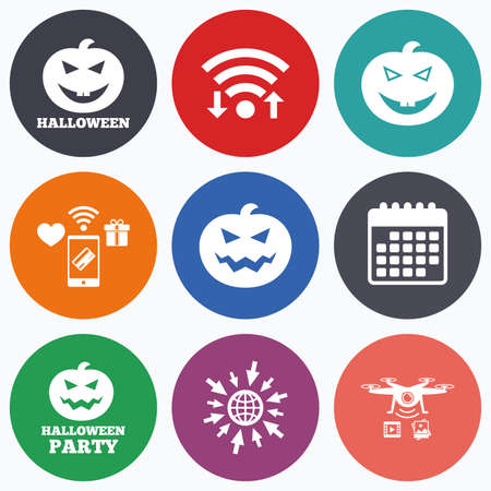 hallows: Wifi, mobile payments and drones icons. Halloween pumpkin icons. Halloween party sign symbol. All Hallows Day celebration. Calendar symbol.