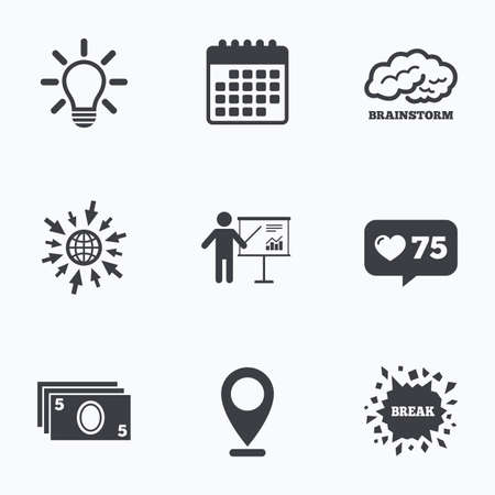 standing lamp: Calendar, like counter and go to web icons. Presentation billboard, brainstorm icons. Cash money and lamp idea signs. Man standing with pointer. Scheme and Diagram symbol. Location pointer.