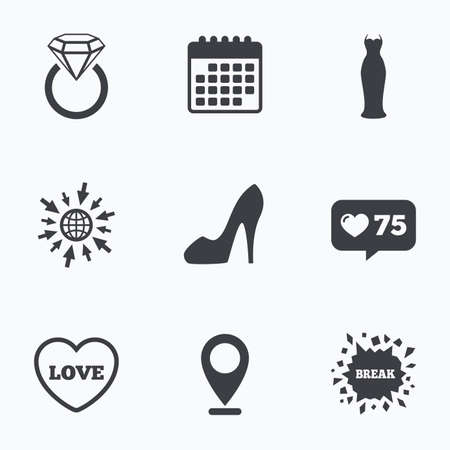 web engagement: Calendar, like counter and go to web icons. Wedding slim dress icon. Womens shoe and love heart symbols. Wedding or engagement day ring with diamond sign. Location pointer. Illustration