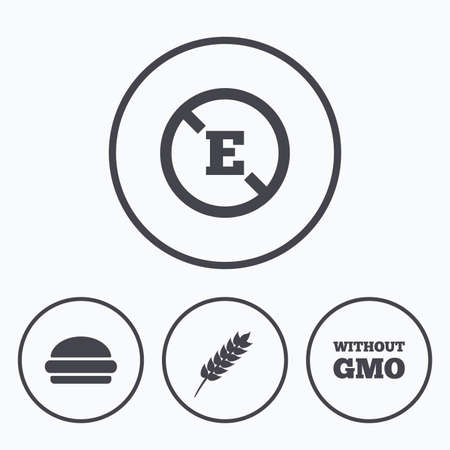stabilizers: Food additive icon. Hamburger fast food sign. Gluten free and No GMO symbols. Without E acid stabilizers. Icons in circles. Illustration