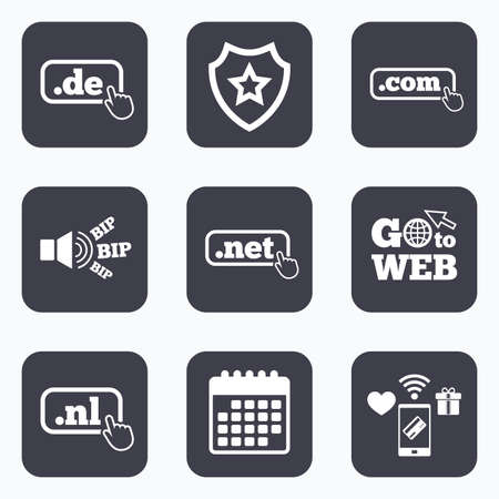 nl: Mobile payments, wifi and calendar icons. Top-level internet domain icons. De, Com, Net and Nl symbols with hand pointer. Unique national DNS names. Go to web symbol.