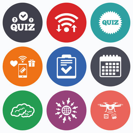feedback form: Wifi, mobile payments and drones icons. Quiz icons. Human brain think. Checklist symbol. Survey poll or questionnaire feedback form. Questions and answers game sign. Calendar symbol. Illustration