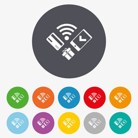 cellphone icon: Wireless mobile payments icon. Smartphone, credit card and gift symbol. Circle colourful buttons.
