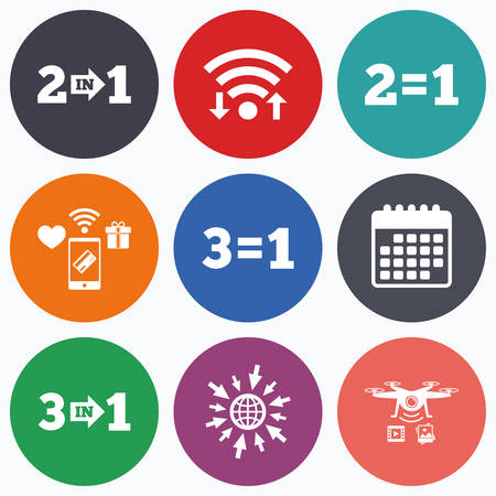 equals: Wifi, mobile payments and drones icons. Special offer icons. Take two pay for one sign symbols. Profit at saving. Calendar symbol.