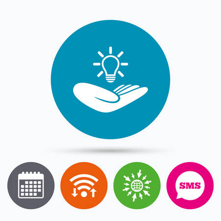 patent: Wifi, Sms and calendar icons. Idea patent insurance sign. Hand holds lamp bulb symbol. Intellectual Property. Go to web globe.