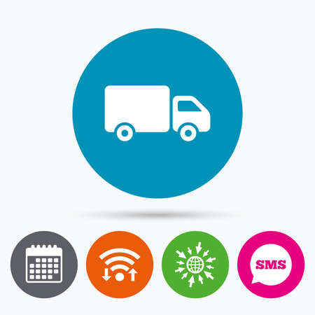 cargo van: Wifi, Sms and calendar icons. Delivery truck sign icon. Cargo van symbol. Go to web globe. Illustration