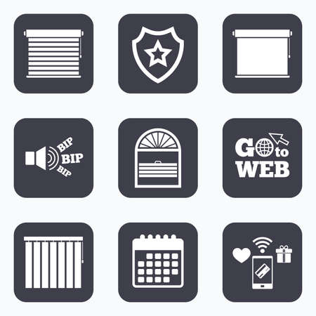 blinds: Mobile payments, wifi and calendar icons. Louvers icons. Plisse, rolls, vertical and horizontal. Window blinds or jalousie symbols. Go to web symbol.