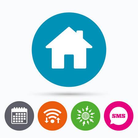 Wifi, sms e calendario icone. Segno di casa icona. pulsante della pagina principale. simbolo di navigazione. Vai a web globo. Vettoriali