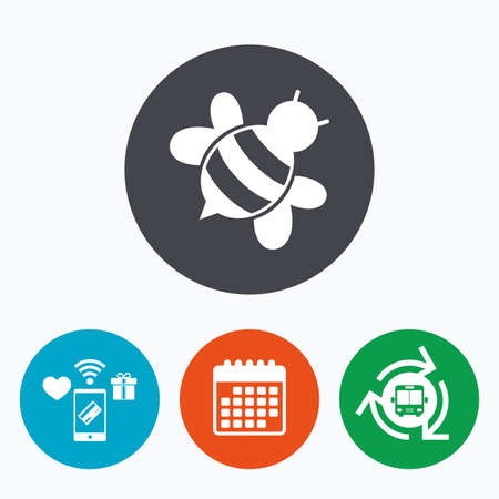 apis: Bee sign icon. Honeybee or apis with wings symbol. Flying insect diagonal. Mobile payments, calendar and wifi icons. Bus shuttle.