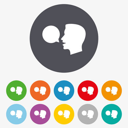 speak icon: Talk or speak icon. Speech bubble symbol. Human talking sign. Circle colourful buttons.