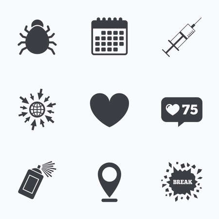 syringe injection: Calendar, like counter and go to web icons. Bug and vaccine syringe injection icons. Heart and spray can sign symbols. Location pointer.