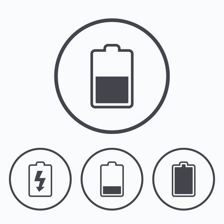 electrochemical: Battery charging icons. Electricity signs symbols. Charge levels: full, half and low. Icons in circles.