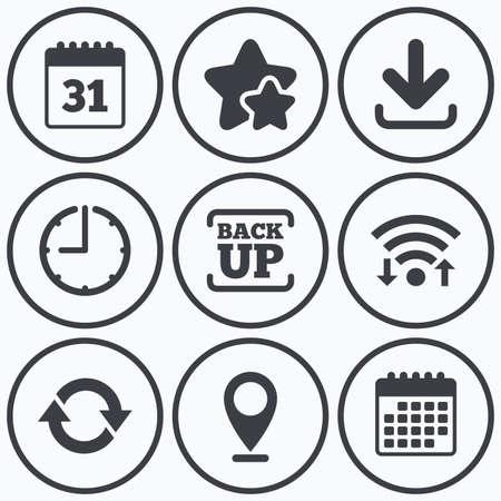 Clock, Wi-Fi und Sterne Symbole. Herunterladen und Backup-Daten-Symbole. Kalender und Rotation Pfeile Symbole unterzeichnen. Kalender-Symbol. Vektorgrafik