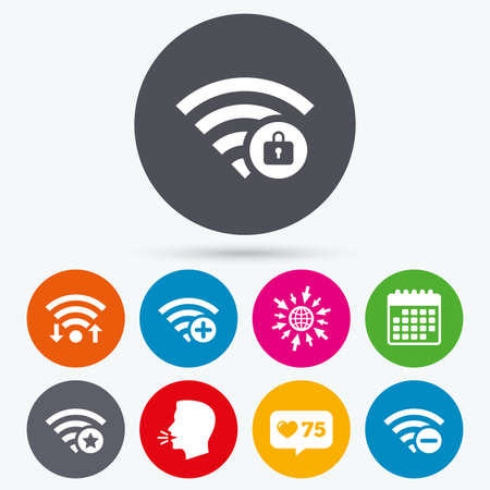 set free: Wifi, like counter and calendar icons. Wifi Wireless Network icons. Wi-fi zone add or remove symbols. Favorite star sign. Password protected Wi-fi. Human talk, go to web.