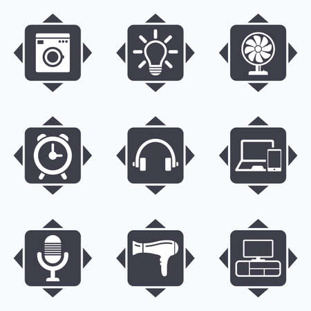 ventilator: Icons with direction arrows. Home appliances, device icons. Ventilator sign. Hairdryer, washing machine and lamp symbols. Square buttons. Illustration