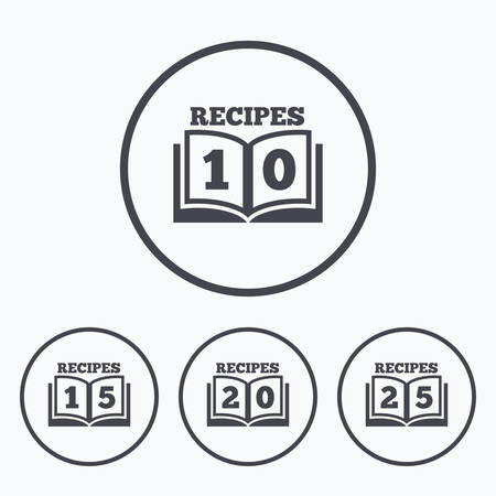 15 to 20: Cookbook icons. 10, 15, 20 and 25 recipes book sign symbols. Icons in circles. Illustration