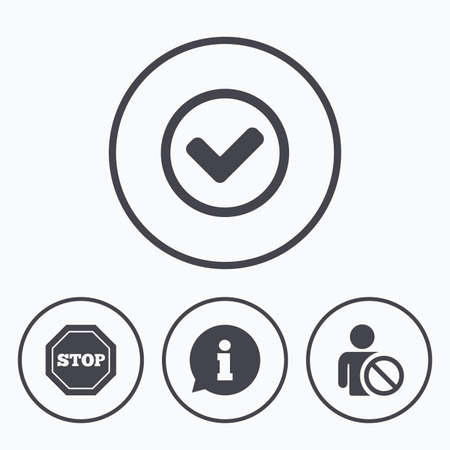 banned: Information icons. Stop prohibition and user blacklist signs. Approved check mark symbol. Icons in circles. Illustration