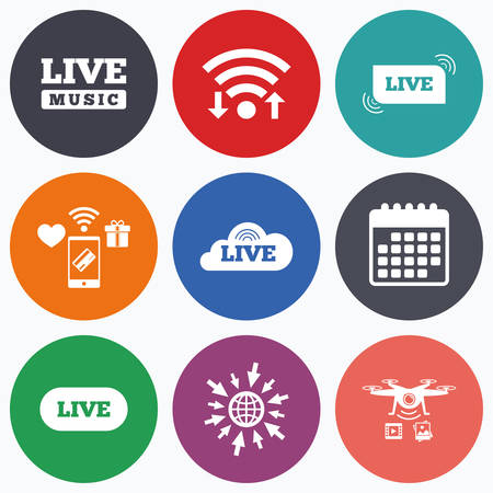 live on air: Wifi, mobile payments and drones icons. Live music icons. Karaoke or On air stream symbols. Cloud sign. Calendar symbol. Illustration