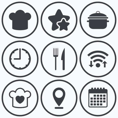 boil: Clock, wifi and stars icons. Chief hat and cooking pan icons. Fork and knife signs. Boil or stew food symbols. Calendar symbol. Illustration