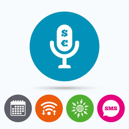 Wifi, Sms and calendar icons. Microphone icon. Speaker symbol. Paid music sign. Go to web globe. Illustration
