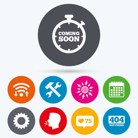 screw key: Wifi, like counter and calendar icons. Coming soon icon. Repair service tool and gear symbols. Hammer with wrench signs. 404 Not found. Human talk, go to web.