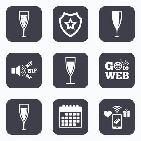 chardonnay: Mobile payments, wifi and calendar icons. Champagne wine glasses icons. Alcohol drinks sign symbols. Sparkling wine with bubbles. Go to web symbol.