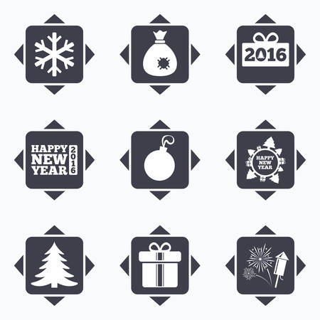 new direction: Icons with direction arrows. Christmas, new year icons. Gift box, fireworks and snowflake signs. Santa bag, salut and decoration ball symbols. Square buttons.