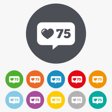 speech bubbles: Like counter icon. Notification speech bubble symbol. Circle colourful buttons.