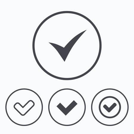 checkbox: Check icons. Checkbox confirm circle sign symbols. Icons in circles.