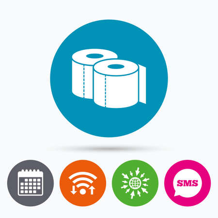 closet communication: Wifi, Sms and calendar icons. Toilet papers sign icon. WC roll symbol. Go to web globe.
