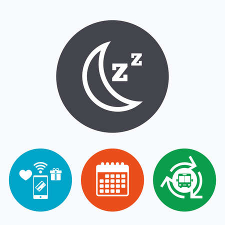 standby: Sleep sign icon. Moon with zzz button. Standby. Mobile payments, calendar and wifi icons. Bus shuttle. Illustration